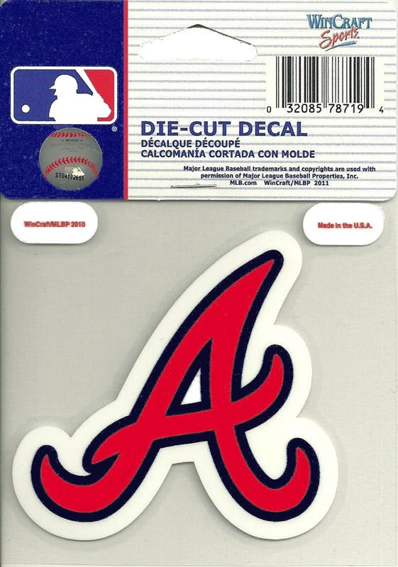 Atlanta braves script a logo mlb die cut vinyl decal 4x4