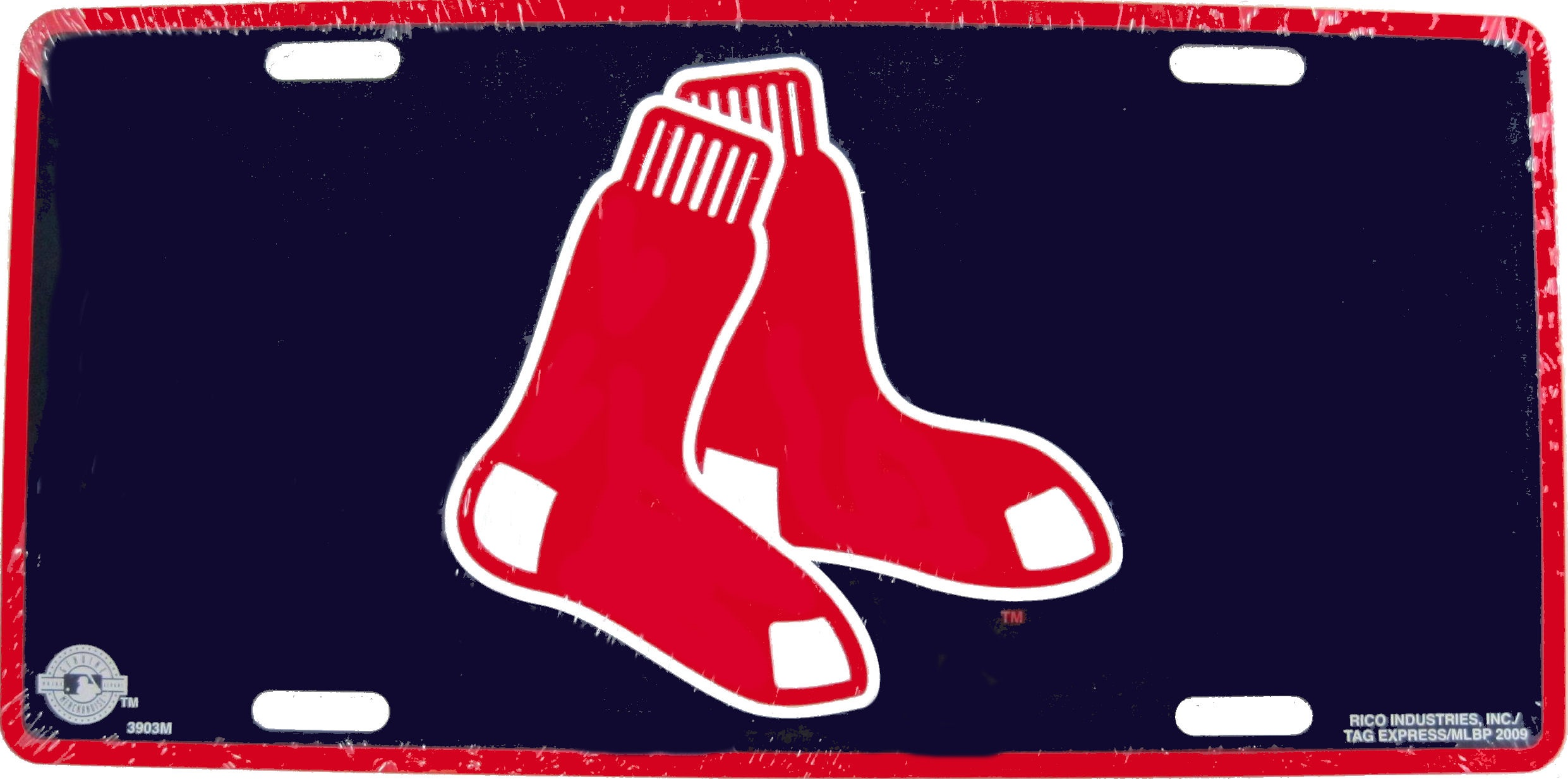 Boston Red Sox Quot Hanging Socks Quot Logo Navy Metal License