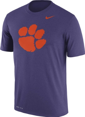 43ca8659 Clemson Tigers Champion Orange Training 2 Performance T-Shirt · Clemson  Tigers Logo Legend Nike Purple Dri-Fit T-Shirt