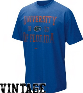 Florida gators nike royal blue distressed old school for Old school nike shirts