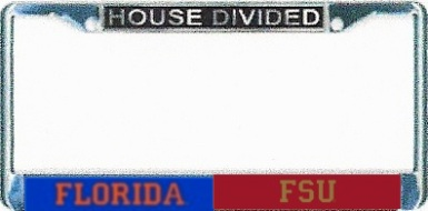 florida gatorsfsu seminoles house divided chrome license frame