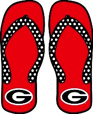 Georgia Bulldogs Die Cut Uga Red Black G Logo Flip Flops Decal