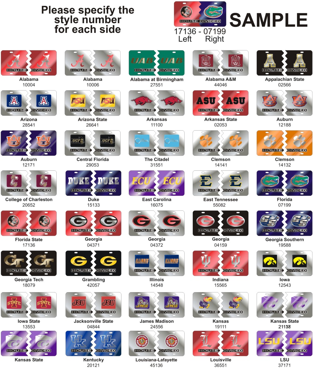 NCAA College House Divided Custom Laser Mirror License Plate Tags